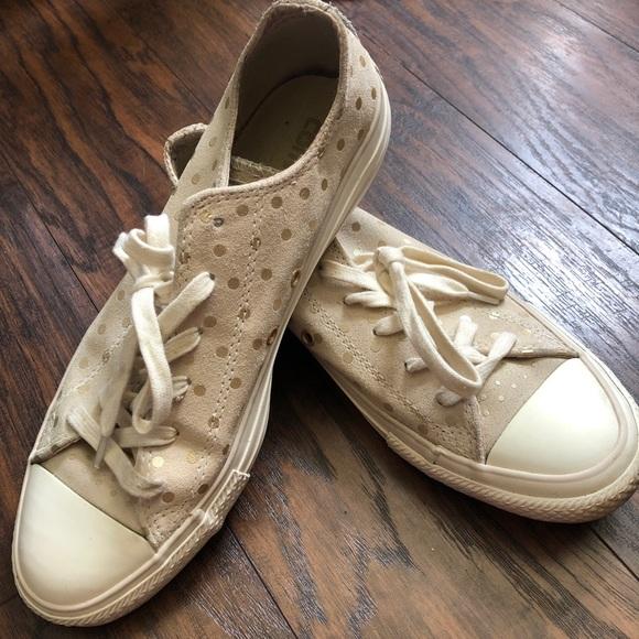 Converse beige suede gold polka dot women